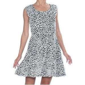 EUC Guess Leopard black and white flare dress M